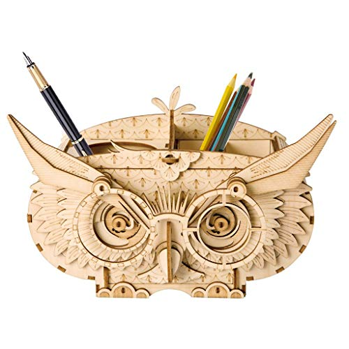 JLA Toy, Ornament, Cut Wood Puzzle With Gear 3D Toy Adult Model Kit To Build Owl Pen Holder,164 * 75 * 102Mm