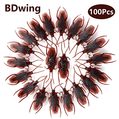 Bdwing 100pcs Prank Fake Roaches, Favorite Trick Joke Toys Look Real, Scary Insects Realistic Plastic Bugs, Novelty Cockroach Gag Gifts for April Fool's Day Halloween Party Favors Decoration Props