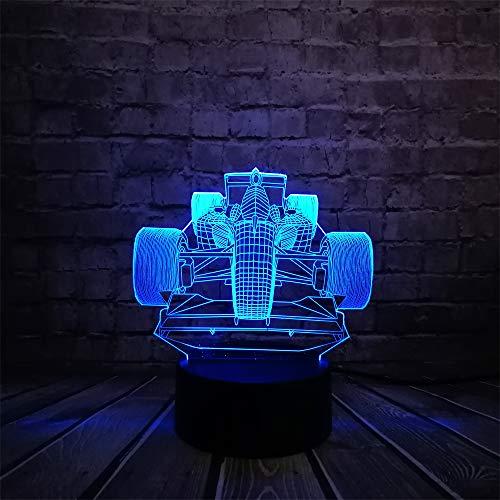 DFDLNL Race Car Cool 3D Lámpara Bombilla Led USB Mesa Luz Nocturna RGB Iluminación Luminaria Niño Cumpleaños Juguetes