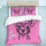 TARTINY Parure de Lit Fille Chihuahua Sketch Illustration avec Citation Rubans Lunettes de Mode Chiot 1 Housse De Couette 220 * 240cm+ 2 Taies d'oreiller 65 * 65cm