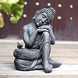 NYKK Buddha Figur Hof Garten Dekoration Zen Ornament Innen- und Außen Sitzender Buddha Ornament Stein Buddha