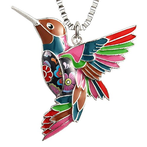Luckeyui Colorful Hummingbird Necklaces Jewelry Gifts for Women Girl Unique Design Bird Pendants Keychain (Finding The Best Female Ankle Tattoos)