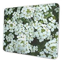 白い花 マウスパッド 21 X 26cm 滑り止め 防水 おしゃれ 洗える ビジネス用 家庭用 ゲーム用