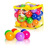 FoxPrint Soft Plastic Kids Play Balls – Non Toxic, 50 Phthalate & BPA Free - Crush Proof & No Sharp Edges; Ideal for Baby or Toddler Ball Pit, Kiddie Pool, Indoor Playpen & Parties, 50 Balls