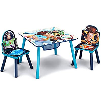 Delta Children Kids Table and Chair Set With Storage (2 Chairs Included) - Ideal for Arts & Crafts, Snack Time, Homeschooling, Homework & More, Disney/Pixar Toy Story 4