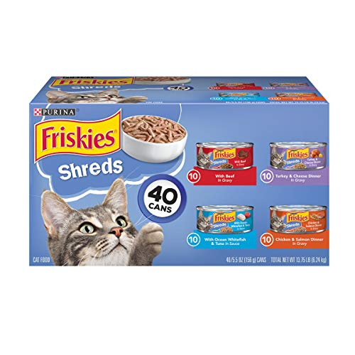 Purina Friskies Wet Cat Food Variety Pack, Shreds Beef, Turkey, Whitefish, and...