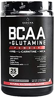 Sascha Fitness BCAA 4:1:1 + Glutamine,HMB,L-Carnitine,HICA | Powerful and Instant Powder Blend with Branched Chain Amino A...