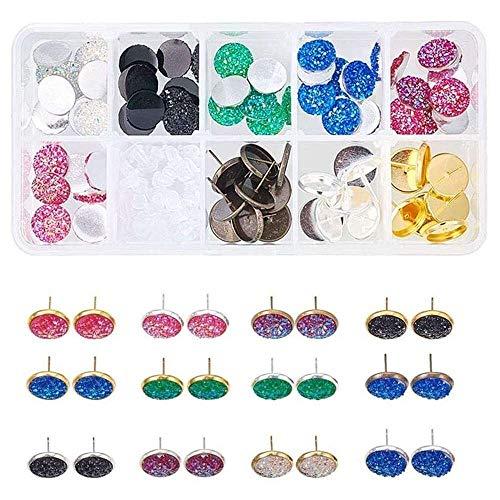 YuKeShop 120 pendientes de tuerca, pendientes de resina y pendientes de resina que incluyen 6 colores 60 cabujones de resina con parte trasera plana y 3 colores 30 piezas de bisel de tuerca para arete