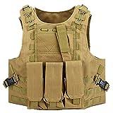 Chaleco táctico Molle con bolsa triple Mag y accesorios militares bolsa de airsoft camuflaje policía combate chaleco totalmente ajustable (TAN)