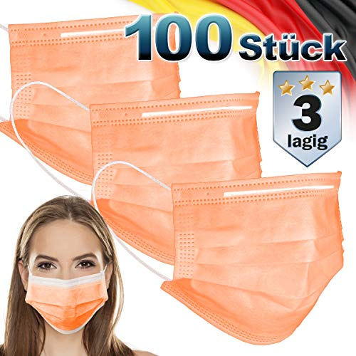 ECD Germany 100 Stück Mundschutz Maske Einweg Gesichtsmaske für Erwachsene Orange 3-lagig Schutz atmungsaktive Mundschutzmaske mit Ohrschlaufen und Nasenbügel Mund-Nasen-Schutz Schutzmaske Einwegmaske