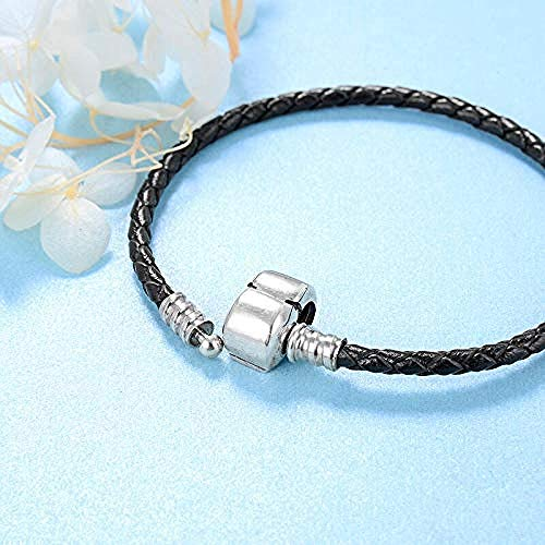 Silver Bead Charms Black Braided Leather Buckle Weave Snake Shape Chain -16Cm 925 Sterling Silver Fine Pendants Bracelet Jewelry Making Girls Teens Diy Best Gift Fit Original Charm