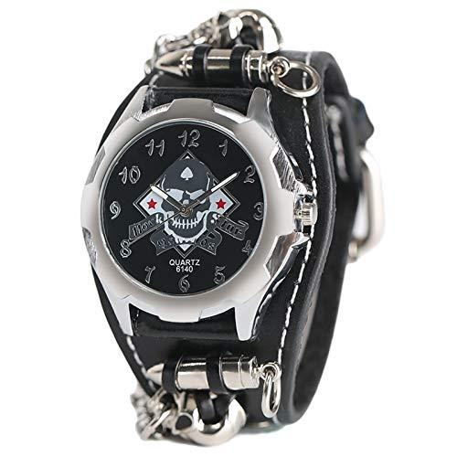 KJDS Reloj de pulsera de cuarzo Cool Punk | Reloj de pulsera | Cráneo bala cadena estilo gótico correa de cuero analógico reloj hombres mujeres regalo