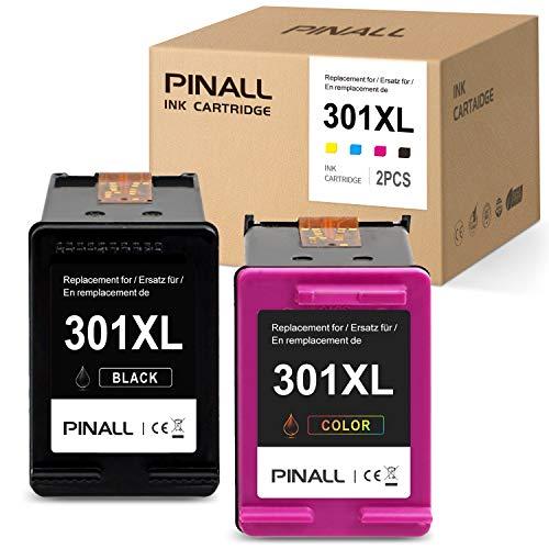 PINALL 2 Cartucho Compatible HP 301XL para HP Deskjet 2620 HP Deskjet 2510 2544 HP Envy 4502 4504 4507 4508 HP Envy 5530 5534 AIO Impresora (1 Negro / 1 Color)