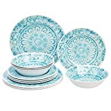 Amazon Basics 12-Piece Melamine Dinnerware Set - Service for 4, Faded Glaze Blue