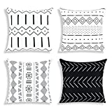 Yastouay Black Throw Pillow Covers Boho Decorative Throw Pillow Cases 18 x 18 inch Modern Pillow Cases Geometric Home Decor Cushion Covers 4 Pack for Couch Sofa Chair Bed