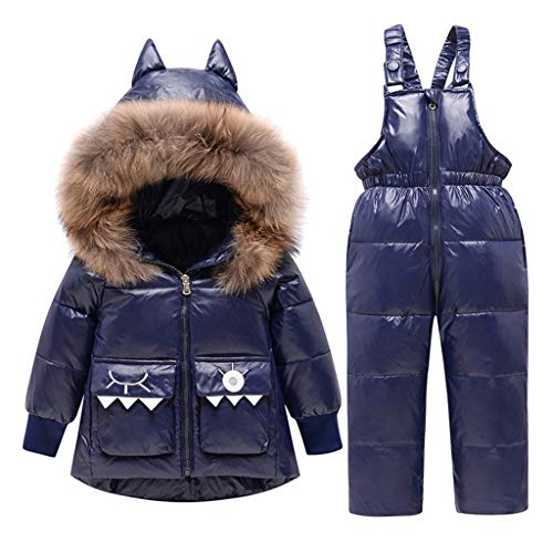 Vine Bambino Tuta da Neve Piumino con Cappuccio + Pantaloni da Sci Bambini 2 Pezzi Set Tuta da Sci Invernale Completo Salopette da Sci Caldo Giacca Cappotto Snowsuit, 2-3 Anni
