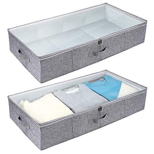 Cabilock Tasche Unter Bett Faltbar Unterbett-Aufbewahrungstasche Unterbetttasche 2 StüCk Unterbettkommode mit Sichtfenster für Unterbett Aufbewahrung von Bettdecken, Kissen, Kleidung und BettwäSche