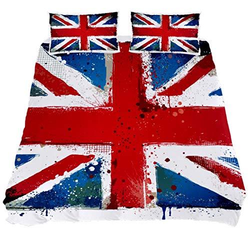 Juego de funda de edredón con diseño de bandera de Inglaterra de ASIGA, 3 piezas, con cierre de cremallera, juego de ropa de cama para mujeres y hombres