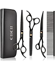 Dog Grooming Scissors Kit, CIICII 7 Inch Professional Pet Grooming Scissors Set (Dog/Cat Hair Thinning Trimming Cutting Shears) with Curved Scissors for DIY Home Salon (Heavy Duty-Black-9Pcs)
