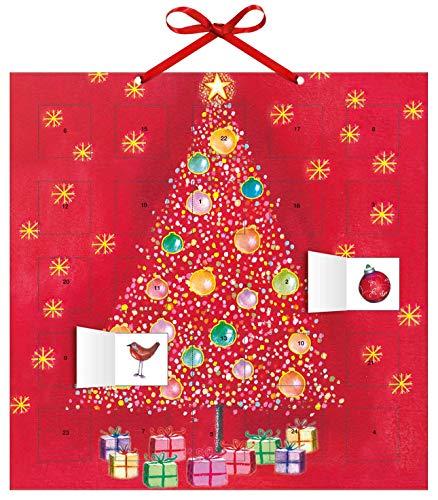 Adventskalender Oh Weihnachtsbaum! – mit 24 Stickern – mit Glitzer – mit rotem Stoffband – Format 30 x 30 cm