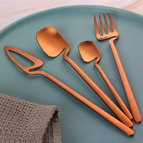 4 unids creativo cubiertos mate acero inoxidable helado postre cuchillo cuchillo palo con forma de café cuchara tarde té vajilla regalo (Color : Rose gold)