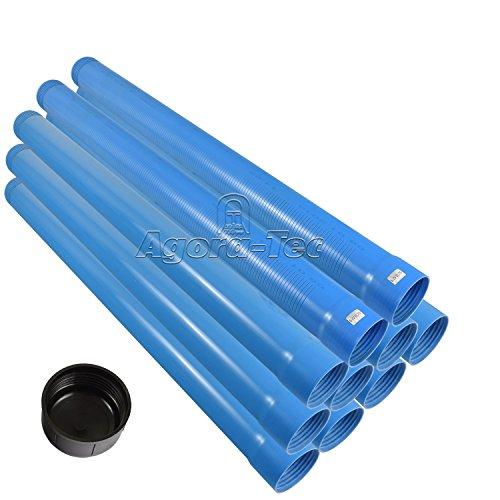 Agora-Tec® 3 Zoll DN 80 Brunnenrohr - Set (10 Meter) mit 8 Meter Vollwandrohr, Endkappe und 2 Meter Filterrohr mit einer (Schlitzweite: 0.75mm)