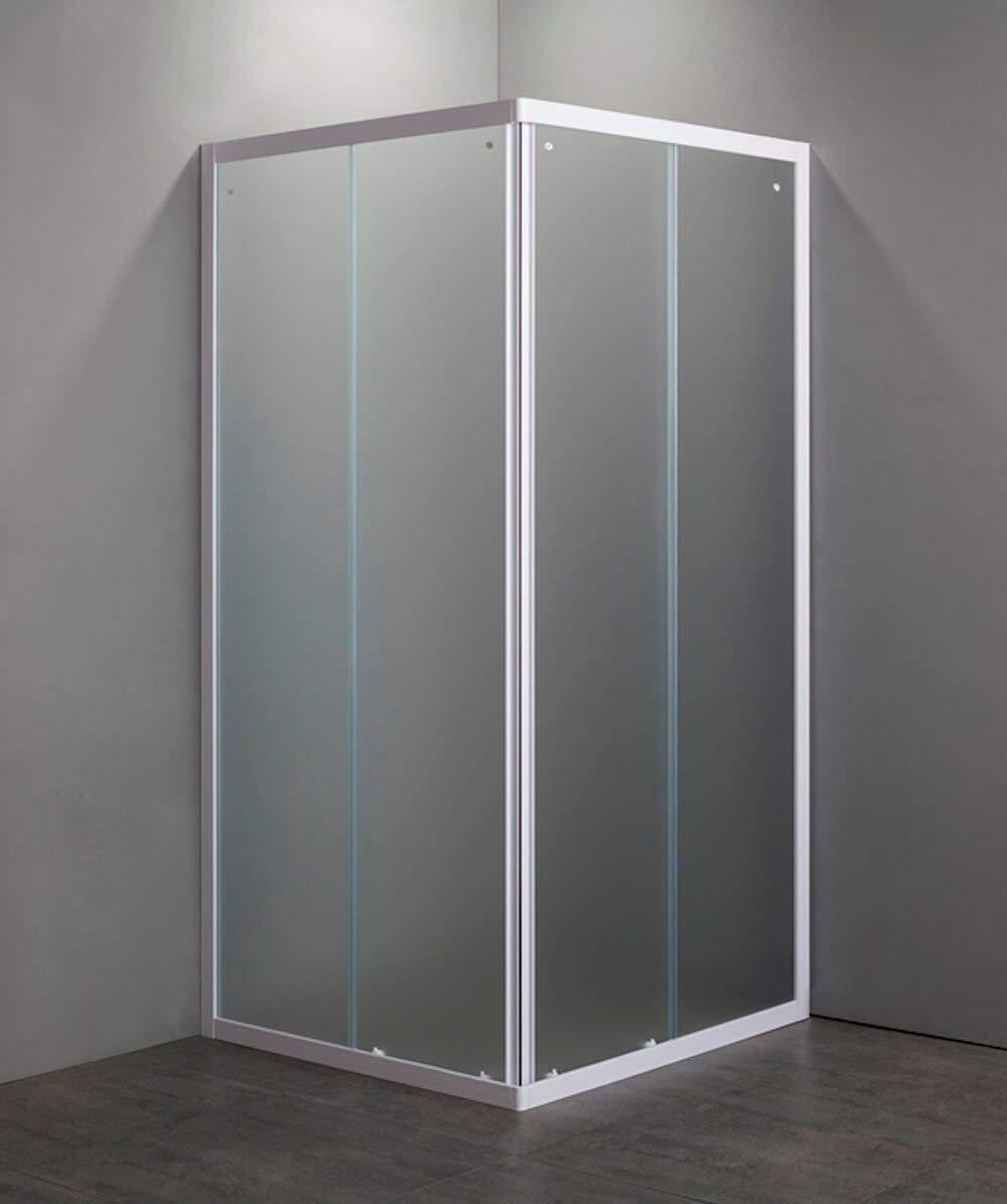 Mampara de ducha Cristal Mate templado 4 mm de abertura corredera , 2 lados, Perfiles Bianchi, 70 x 90 cm, Altura 185 cm: Amazon.es: Hogar