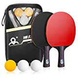 Powcan Sets de Ping Pong, 2 Raquetas de Ping Pong + 3 Pelotas + 1 Bolsa, Profesionales Palas Ping Pong, Cómodo Mango | Esponja de Alta Elasticidad | Goma de Doble Cara