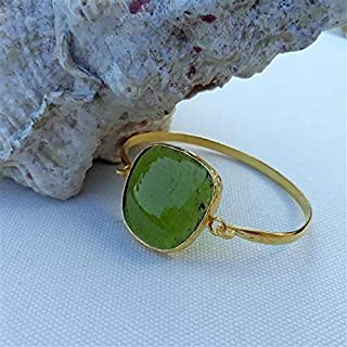 Progettato appositamente, Ottone placcato oro, Bracciale in vetro verde pastello