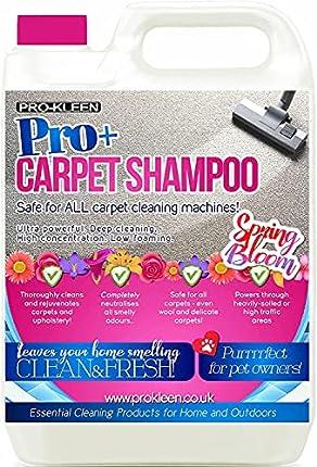 Pro-Kleen Pro+ - Solución de limpieza de alfombras y tapicería - 4 en 1, concentrado - Apta para todas las máquinas de lavado de alfombras 5 L (flor de primavera)