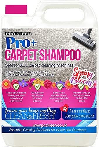 Pro-Kleen, detergente per tappeti e tappezzeria Pro+ Carpet Shampoo, formula 4 in 1 concentrata, adatto per tutti i lavatappeti, confezione da 5 l, profumazione fiori di primavera