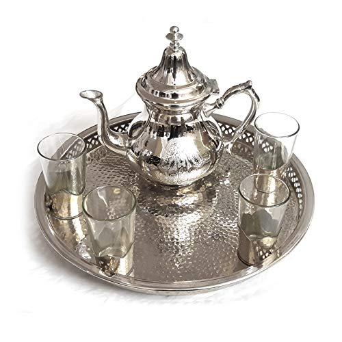 Orientalisches Teeservice | Hammerschlag | Fatima | Krone | 6 Teilig | Marokkanisches Tee Glas Set | Orientalisch Marokkanische Teegkanne verziert