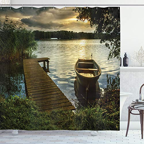 """Ambesonne Seascape Shower Curtain, Boat at Lake Shore with Wooden Pier Sunset Sunbeams Romantic Evening, Cloth Fabric Bathroom Decor Set with Hooks, 75"""" Long, Green Yellow"""