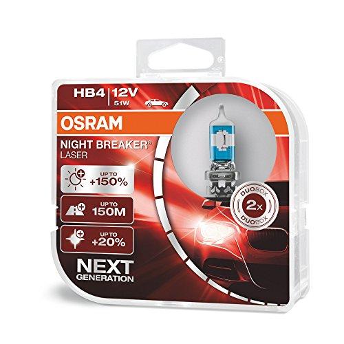 Osram Night Breaker Laser HB4 next Generation, +150% mehr Helligkeit, Halogen-Scheinwerferlampe, 9006NL-HCB, 12V PKW, Duo Box (2 Lampen)