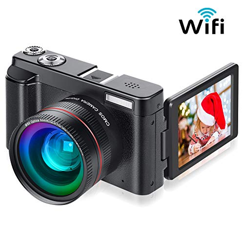 "Digital Camera Vlogging Camera for YouTube, Aasonida Video Camera Ultra HD 1080P 30FPS 24MP Camcorder Vlog Camera with Wide Angle Lens, WiFi Function,3.0"" IPS Flip Screen,16X Digital Zoom,2 Batteries"
