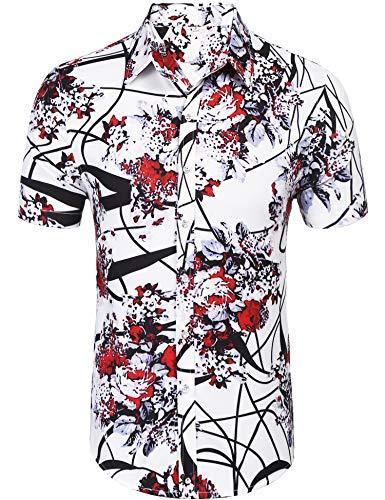 Daupanzees Men's Short Sleeve Luxury Design Print Dress Shirt Casual Button Down Shirt for Party,Wedding,Banquet,Prom,Nightclub (Red L)