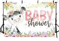 新しいピンクの牛のベビーシャワーパーティーの写真スタジオブースの背景小道具農場の動物の花の赤ちゃんの女の子のシャワーパーティーの装飾バナー写真の背景250x180cm