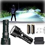 30000-100000 lúmenes de alta potencia Led lámpara de luz de flash impermeable ultra brillante, linterna recargable tamaño de bolsillo (50 W XLM-P70, Batería de litio doble)