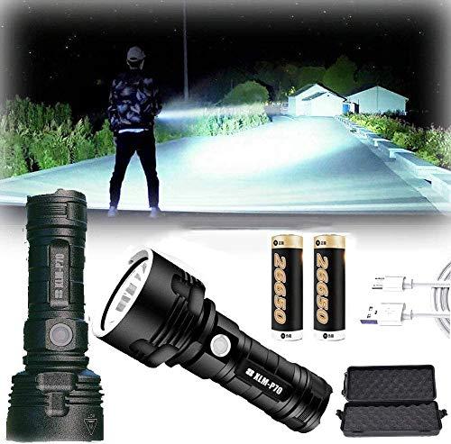 30000-100000 lúmenes de alta potencia Led lámpara de luz de flash impermeable ultra brillante, linterna recargable tamaño de bolsillo (50 W XLM-P70, Batería de litio doble) ⭐