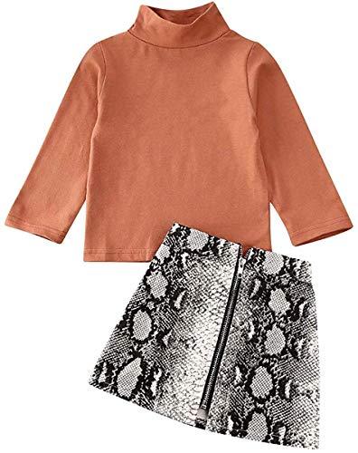 2Pcs Kids Baby Girls Winter Outfits Long Sleeve Solid Stand Collar Sweatshirt Tops + Snakeskin Zip Pencil Skirts Set (Orange, 2-3 Years)