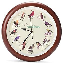 Mark Feldstein Audubon Singing Bird Wall Clock, Cherry Finish Wood Frame 13 Inch
