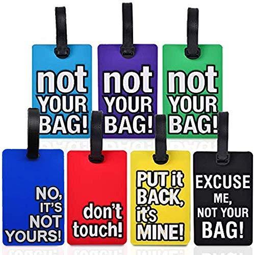 BESROY Bagages Étiquettes, 7 Pièces PVC Etiquettes à Bagages Etiquettes à Bagages,Voyage Valise Etiquettes de Bagages ID Tags pour Cartes de Visite,Accessoires Voyage Etiquette Valise Avion Sécurité
