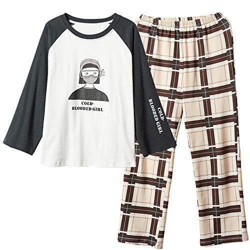 DFDLNL Conjunto de Pijamas para Mujer, Ropa de Dormir de Cuello Redondo, Pijama de Dibujos Animados, Conjuntos de Ropa de Dormir para Mujer, Pijamas de 2 Piezas para Mujer XL