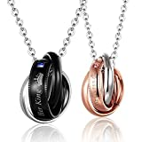 MJartoria Matching Necklaces for Couples, His Queen Her King Engraved Rings Pendant Stainless Steel Necklaces Anniversary Valentines Day Gifts for Boyfriends Girlfriends
