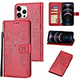 XNMOA Compatible with iPhone 12/iPhone 12 Pro 6.1 Inch Wallet Case,Heavy Duty Embossed Butterfly Pattern Shockproof Anti-Fall Protective Cover Case for Women Girls(Red)