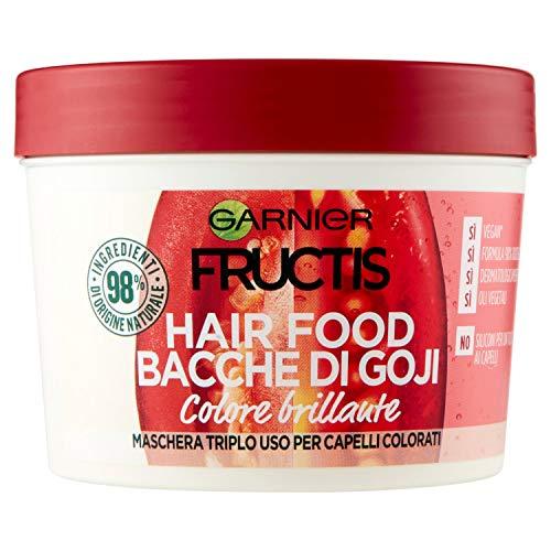 Fructis de Garnier - Mascarilla nutritiva 3 en 1 con bayas de Goji, fórmula vegana para cabellos teñidos, 390 ml