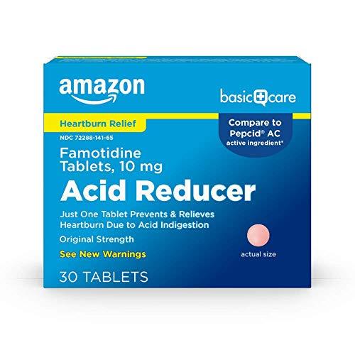 Amazon Basic Care Original Strength Famotidine Tablets 10 mg Acid Reducer for Heartburn Relief 30 Count
