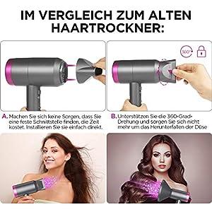 Ionen Haartrockner 1800W haarfön mit Stylingdüsen und Diffusorr Leichter haarföhn für Hause Salons 600g