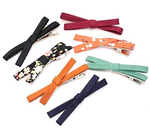 7 Pcs Simple Fashion All-Match Bow Hair Ornaments Liu Hai Hairpin - Cross Side Clip Headgear Hair Pin Barrette Bobby Pin (Color Random)