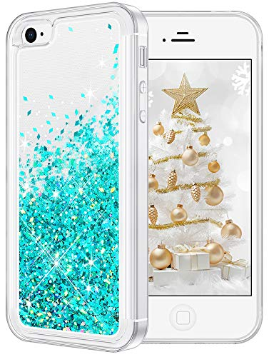 wlooo Funda para iPhone 4S/4, Fundas iPhone 4S, iPhone 4 Glitter liquida Gradiente Cristal Silicona Bling Protector TPU Bumper Case Brillante Arena Movediza Carcasa (Verde Azulado)